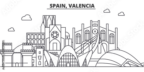 Spain, Valencia architecture line skyline illustration. Linear vector cityscape with famous landmarks, city sights, design icons. Editable strokes