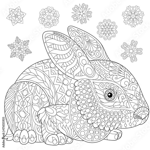 Coloring page of rabbit (bunny) and winter snowflakes. Freehand ...