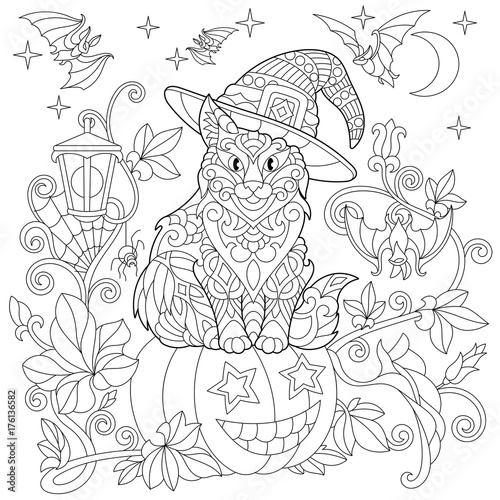Halloween Coloring Page Cat In A Hat Pumpkin Flying Bats Spider
