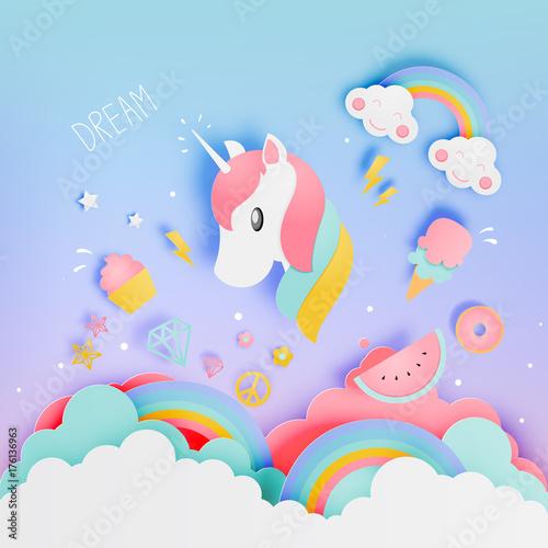 Unicorn in paper art style ...