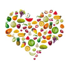Combine The Fruits In The Shape Of The Heart. A Set Of Elements Painted In Watercolor. Healthy Food.