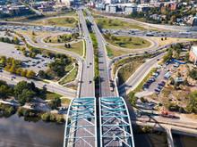 Arch Bridge On Speer Boulevard In Denver Aerial