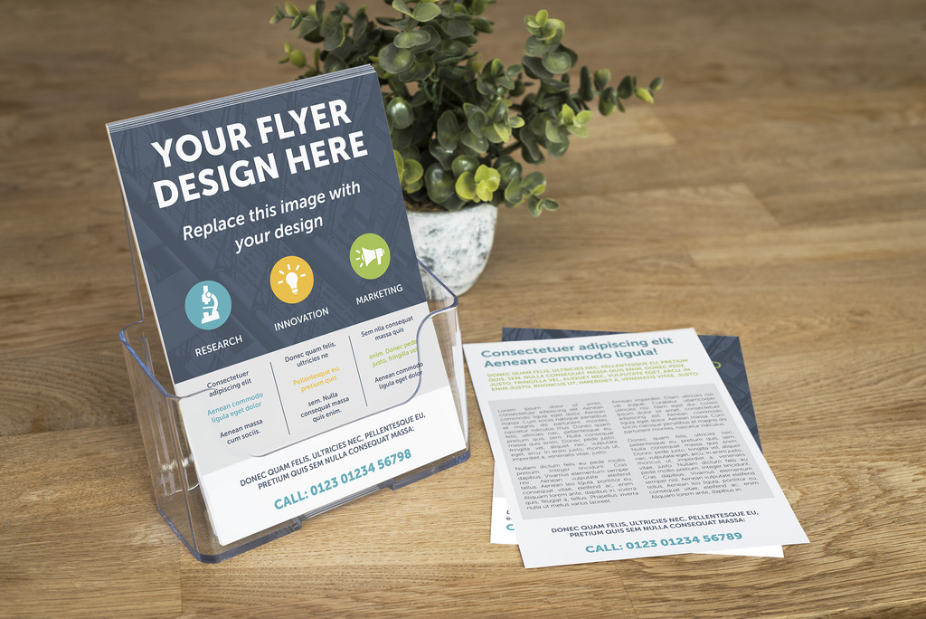 Stack of Flyers on Countertop Mockup