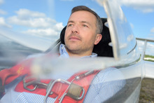 Man In Single Seater Aircraft