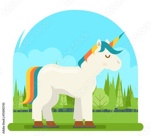 Poster Pony Unicorn Fantasy Horse Wood Background Cartoon Character Flat Design 3d Visual Digital Experience Vector Illustration