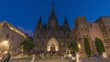 Timelapse video of Barcelona Cathedral at night