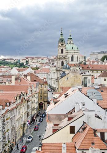 Obraz na dibondzie (fotoboard) Praga. Widok z Little Quarter Bridge Tower do katedry św. Mikołaja