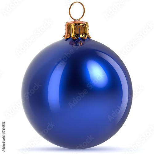 Poster  3d rendering Christmas ball decoration blue New Year's Eve hanging bauble adornm