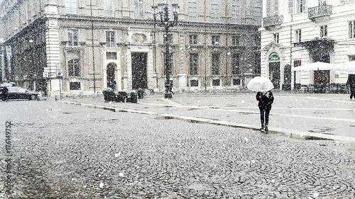 Neve sulla città di torino in inverno Canvas Print
