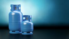 Two Blue Gas Bottles - Dark Ba...