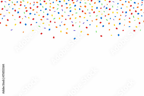 Colorful confetti  Festive background with red, golden and