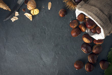 Chestnuts In Jute Basket On A ...