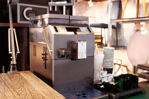 Hotel coffee bar, breakfast tableware, coffee machine, tea, sugar, paper cups, cream, spoon
