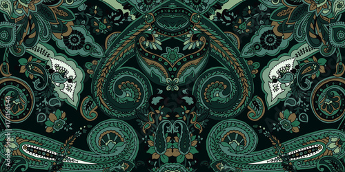 Ingelijste posters Boho Stijl Abstract geometric paisley pattern. Traditional oriental ornament. Vintage jade green colors. Textile design.