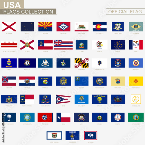 Fototapeta State flags of United States of America, official vector flags collection. obraz