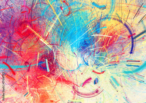 Bright Color Fireworks Abstract Painting Color Texture