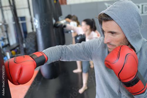 Zdjęcie XXL przystojny męski bokser sportowiec szkolenia