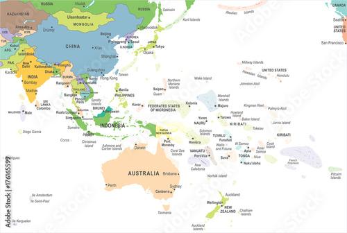 Obraz na plátně East Asia and Oceania Map - Vector Illustration