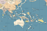 East Asia and Oceania Map - Vintage Vector Illustration - 176165989