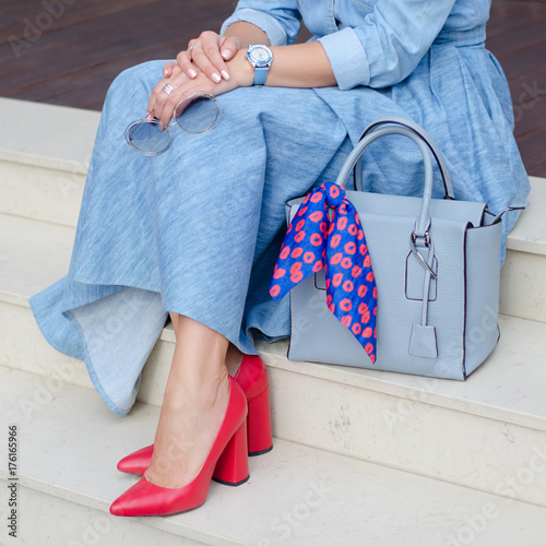 Fashionable Shoes On Women S Leg Woman