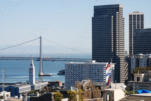 Obraz na dibondzie (fotoboard) Widok na centrum San Francisco i Oakland Bridge