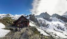 Mont Blanc, France - 27 Aug, 2016: View Of  Lac Blanc Refuge, Aiguille Du Tour, Aiguille Du Chardonnet, Aiguille D Argentiere, Aiguille De L A Neuve And Glacier D Argentiere-France