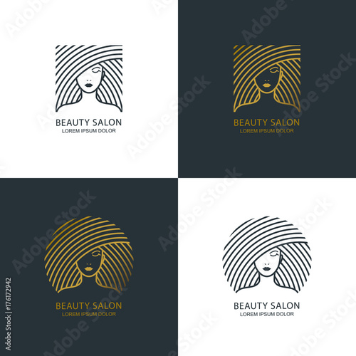 Female line illustration. Vector logo, emblem design. Beauty salon, makeup cosmetic, haircare. Golden womens face. © Betelgejze
