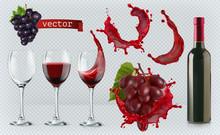 Red Wine. Glasses, Bottle, Spl...