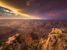 Sunset Over The Grand Canyon, Arizona, America, USA