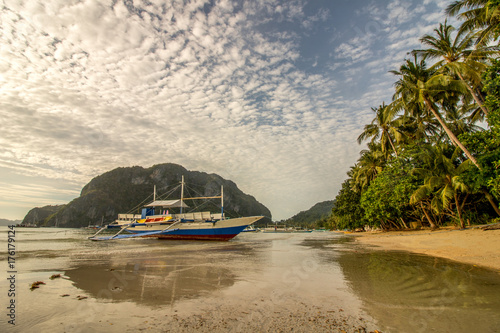 Outrigger Boat, Low Tide Beach