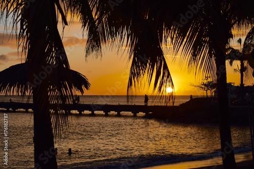 Zdjęcie XXL Karaibski pomarańczowy zachód słońca