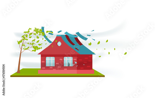 Tornado damage isolated icon Wallpaper Mural