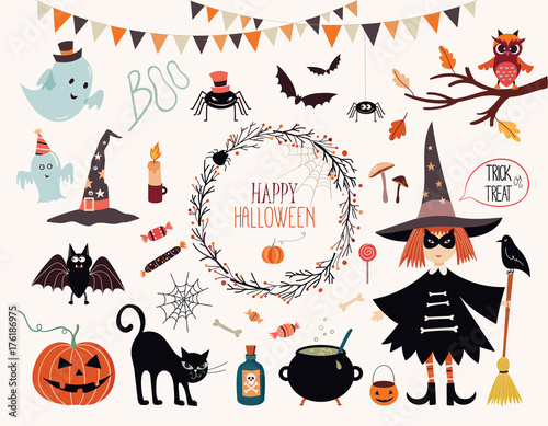 Halloween collection with hand drawn elements, witch, ghosts and wreath Canvas