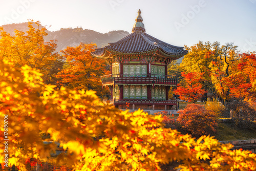 c9b6c2f3f7410 Gyeongbokgung Palace With maple leaves in the fall colors, Seoul, South  Korea