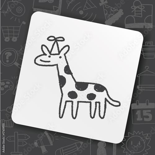 doodle birthday giraffe Poster