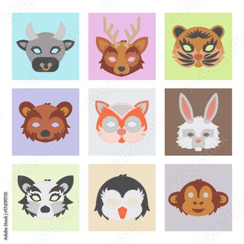 Wall Murals Cats Set of cartoon animals party masks vector holiday illustration party fun masquerade festival decoration.