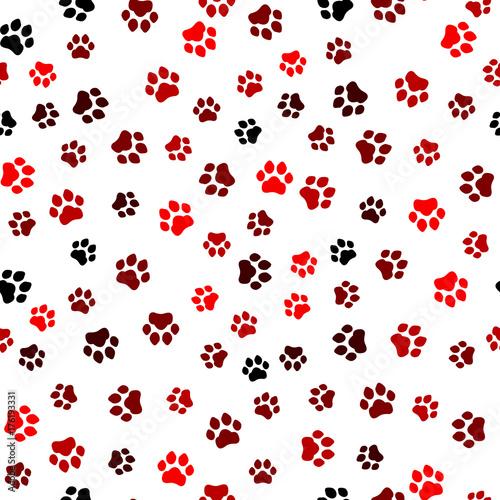 Spoed Fotobehang Lieveheersbeestjes Paw print seamless. Traces of Cat Textile Pattern. Cat footprint seamless pattern. Vector seamless