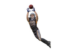 American Football Player Catching Ball Isolated