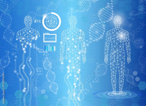 Canvas Print abstract background technology concept in blue light,human body heal,technology