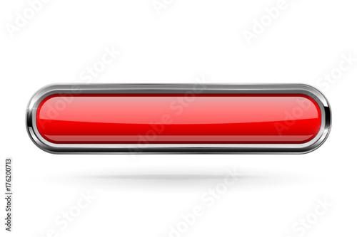 Fototapeta Red long rectangle button with bold chrome frame. 3d shiny icon obraz na płótnie
