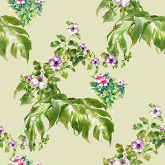 Panel Szklany Liście Watercolor painting of leaf and flowers, seamless pattern on Cream Beige background