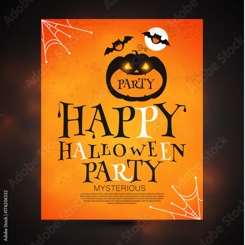 happy halloween poster template spooky party flyer with pumpkin and