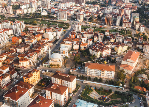 aerial view from airplane of huge city of Istanbul, Turkey Poster
