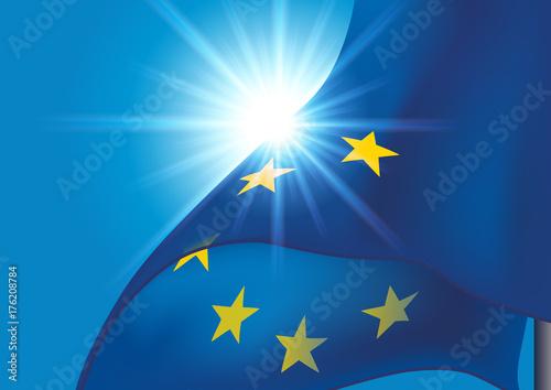 Plakat Flaga europejska - Europa - Pływająca flaga - UE - Unia Europejska - Unia - polityka