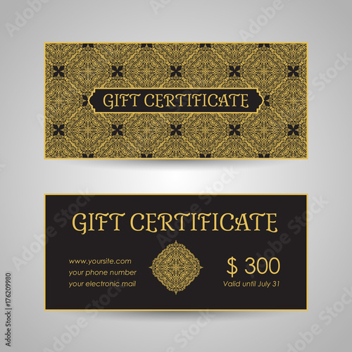 Arabic Style Gift Certificate Template Buy This Stock Vector And