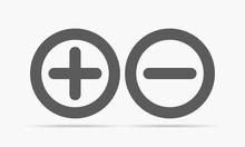 Plus And Minus Round Icons. Ve...