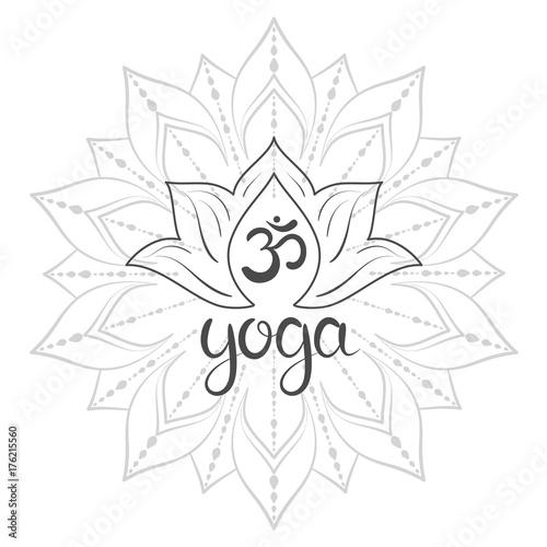 Om symbol with hand drawn mandala lotus flower yoga lettering om symbol with hand drawn mandala lotus flower yoga lettering set mightylinksfo