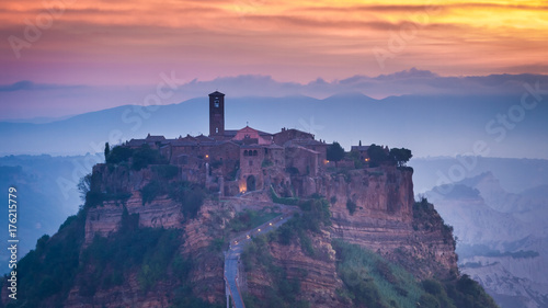 Deurstickers Toscane Dawn in Old town of Bagnoregio in Umbria, Italy