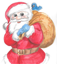 Isolated Santa Claus With Sack...