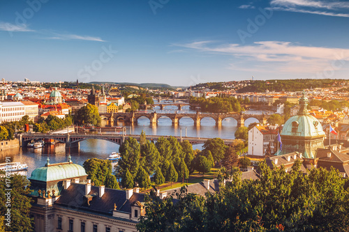 In de dag Praag Scenic spring sunset aerial view of the Old Town pier architecture and Charles Bridge over Vltava river in Prague, Czech Republic
